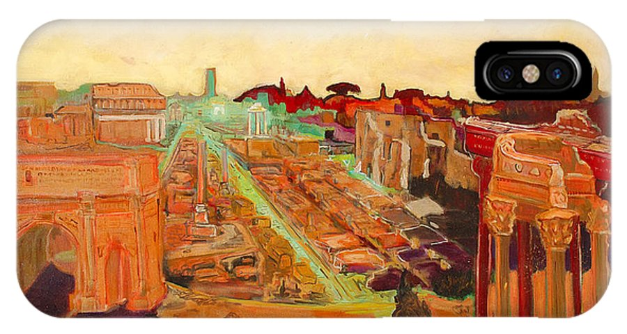 Rome IPhone X Case featuring the painting Foro Romano by Kurt Hausmann