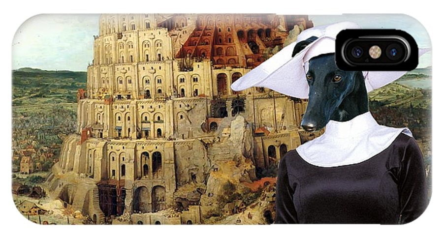 Galgo Espanol IPhone X Case featuring the painting Galgo Espanol - Spanish Greyhound Art Canvas Print -the Tower Of Babel by Sandra Sij