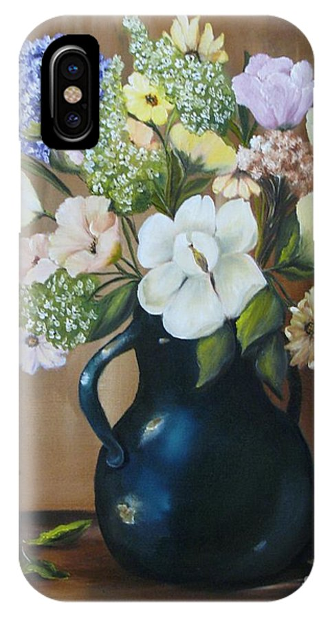 Bouquet IPhone X Case featuring the painting Garden Bouquet by Carol Sweetwood