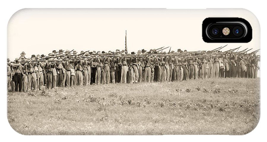 150th IPhone X Case featuring the photograph Gettysburg Confederate Infantry 0157s by Cynthia Staley