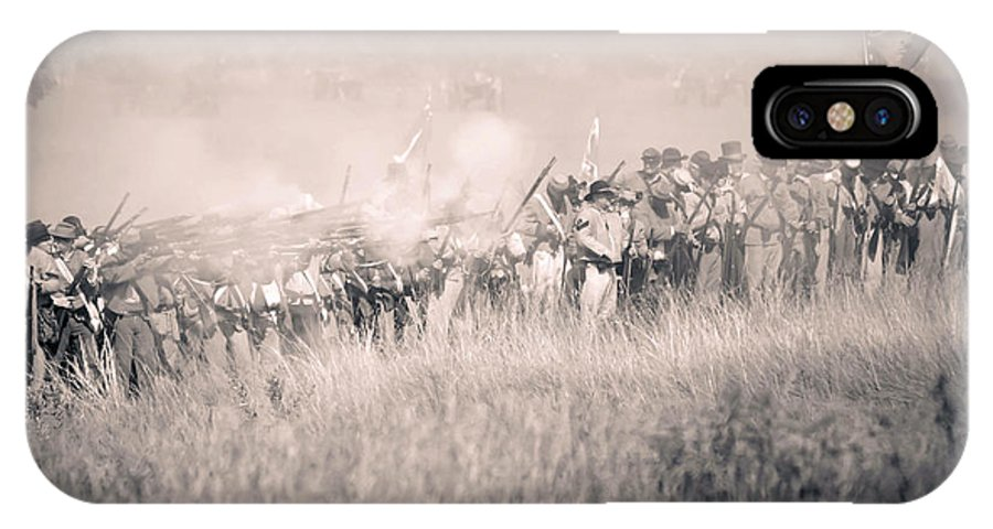 150th IPhone X Case featuring the photograph Gettysburg Confederate Infantry 9112s by Cynthia Staley