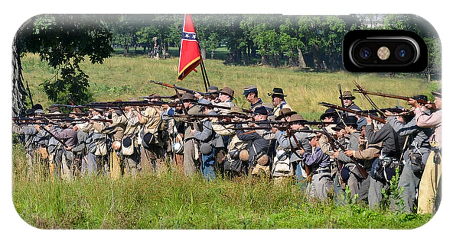 150th IPhone X Case featuring the photograph Gettysburg Confederate Infantry 9270c by Cynthia Staley