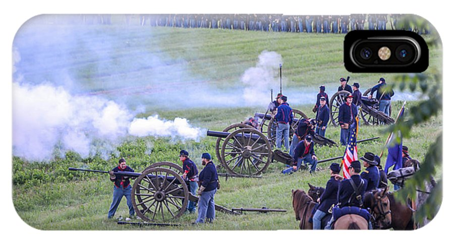 150th IPhone X Case featuring the photograph Gettysburg Union Artillery And Infantry 7439c by Cynthia Staley