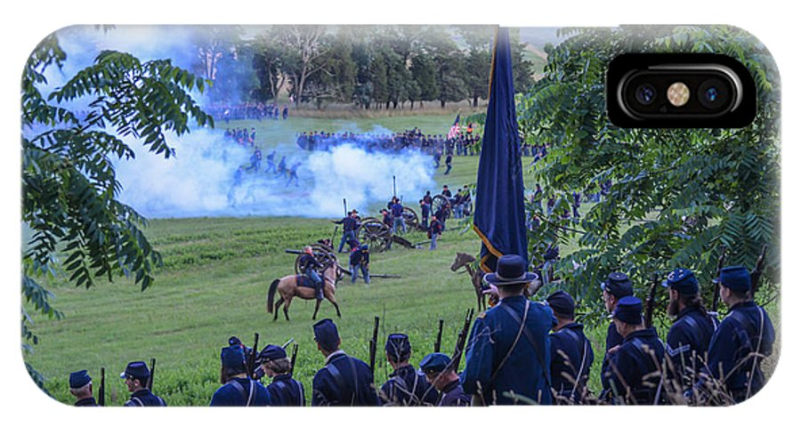 150th IPhone X Case featuring the photograph Gettysburg Union Artillery And Infantry 7457c by Cynthia Staley