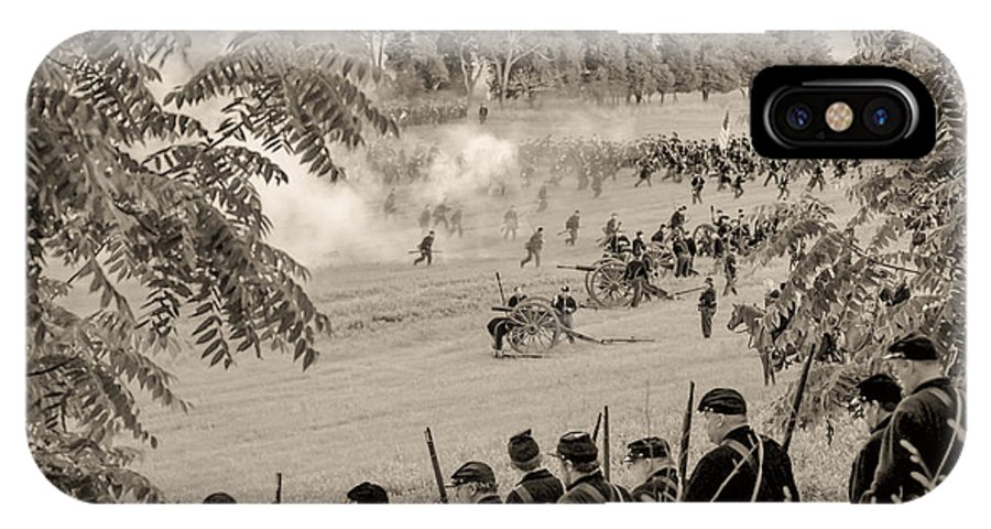 150th IPhone X Case featuring the photograph Gettysburg Union Artillery And Infantry 7465s by Cynthia Staley