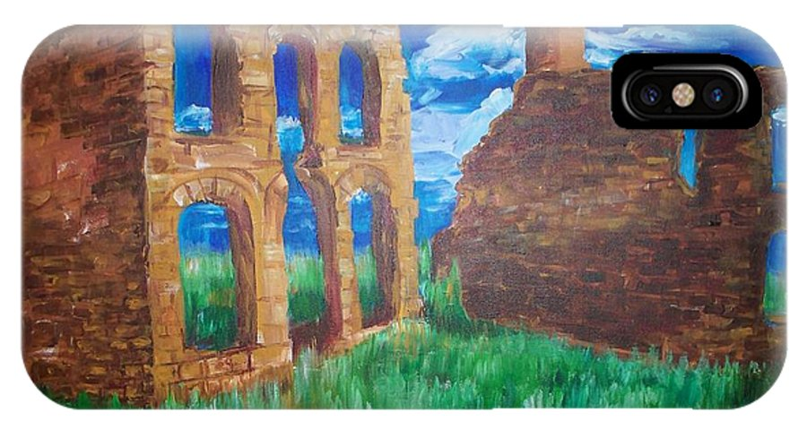 Western_landscapes IPhone Case featuring the painting Ghost Town by Eric Schiabor