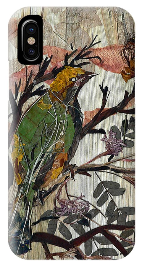 Green Bird IPhone X Case featuring the mixed media Green-yellow Bird by Basant Soni