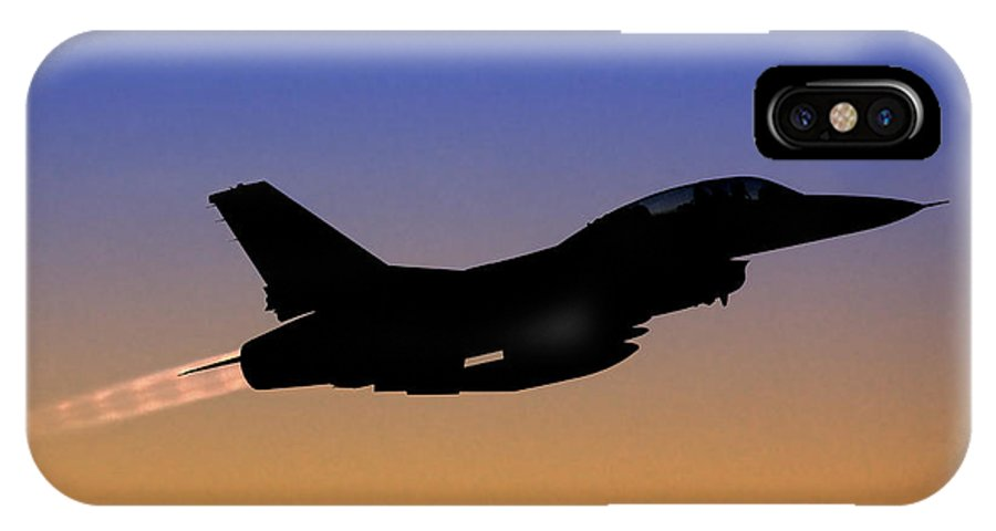 Aircraft IPhone X Case featuring the photograph Iaf F-16b Fighter Jet At Sunset by Nir Ben-Yosef