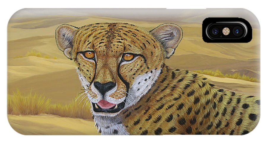 Cheetah IPhone Case featuring the painting In Alert by Juan Enrique Marquez