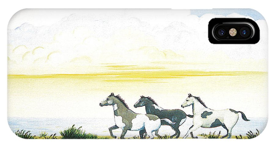 Chincoteague IPhone X Case featuring the painting Indian Ponies by Jerome Stumphauzer