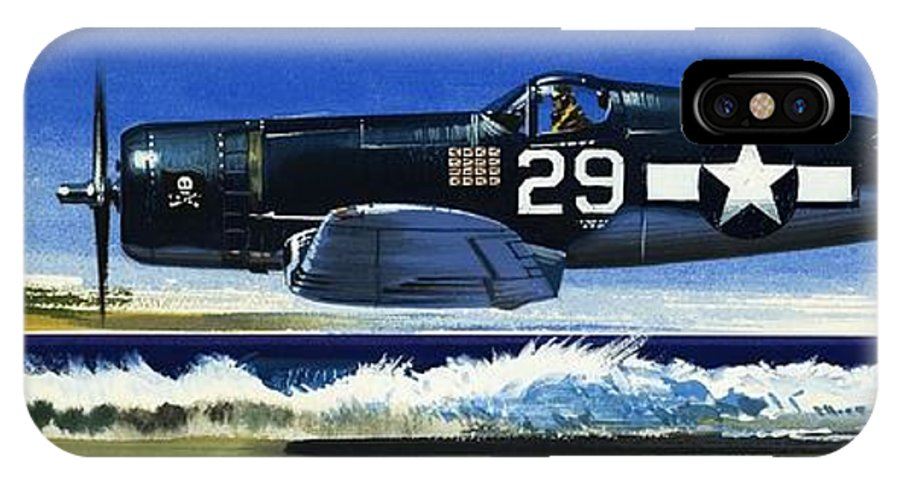 Aircraft; Aeroplane; Plane; Flying; Chance Vought F4u-1a Corsair IPhone X Case featuring the painting Into The Blue American War Planes by Wilf Hardy