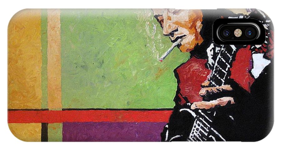 Jazz IPhone X Case featuring the painting Jazz Guitarist by Yuriy Shevchuk