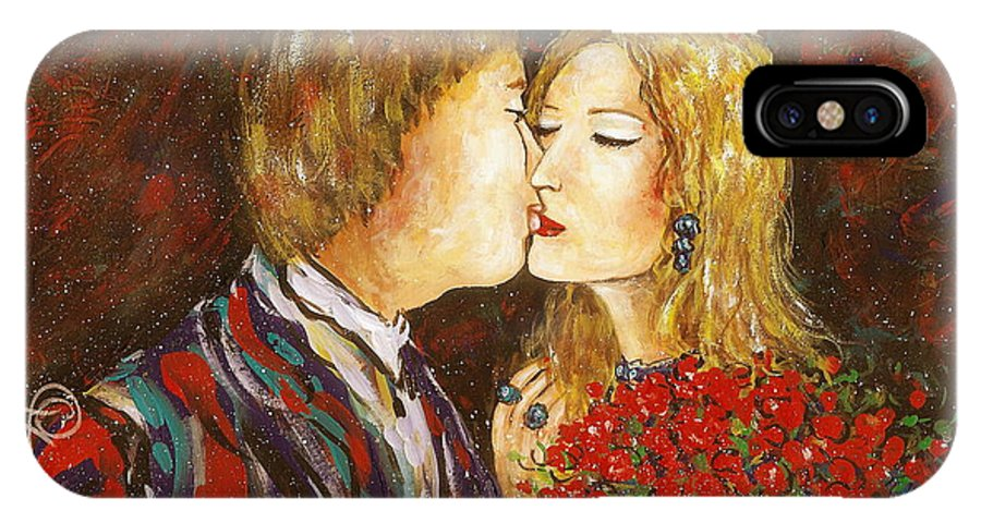 Passion IPhone X Case featuring the painting Kiss by Natalie Holland