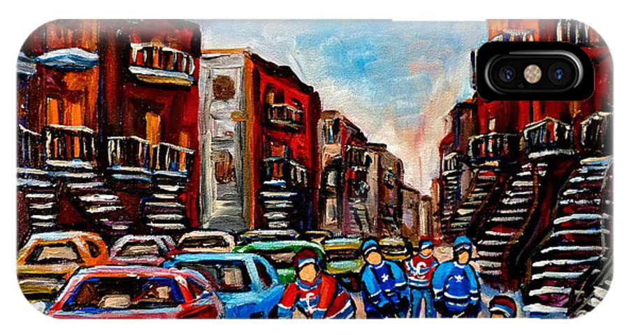 Montreal IPhone X Case featuring the painting Late Afternoon Street Hockey by Carole Spandau