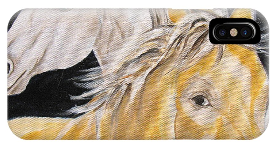 Horses IPhone X Case featuring the painting Love Story Part 2 by Donna Steward