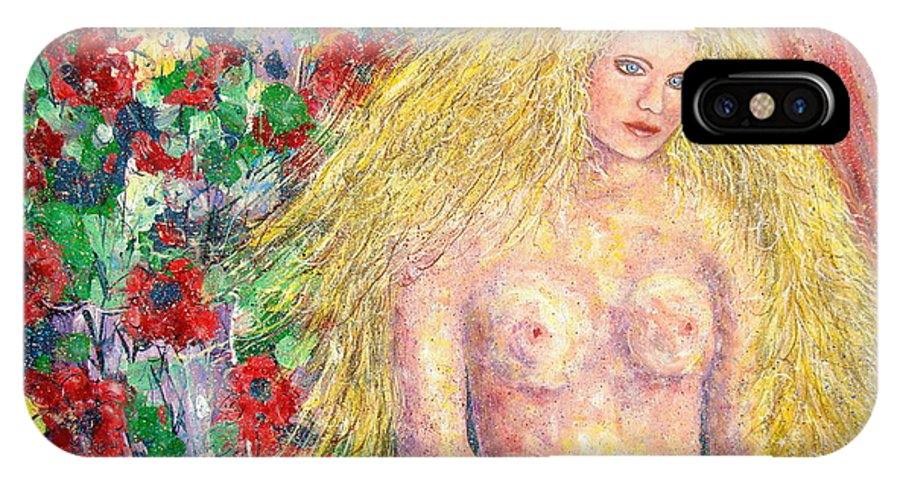 Nude IPhone X Case featuring the painting Nude Fantasy by Natalie Holland