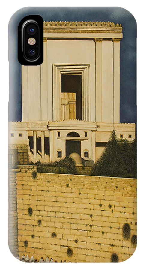 Realism. Figurative. Jewish Life. IPhone X Case featuring the painting Old Jerusalem. The Third Themple. by Eduard Gurevich
