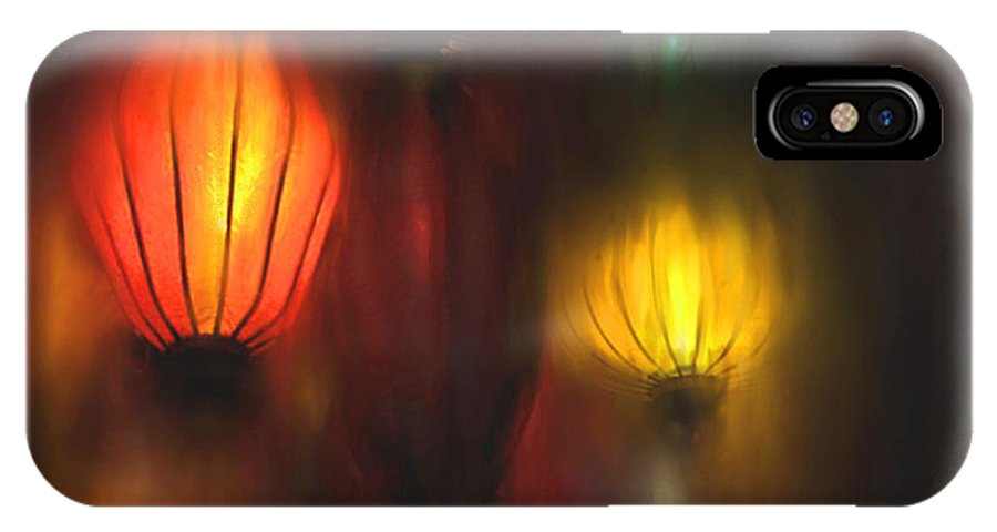 Lanterns IPhone X Case featuring the painting Orange Lantern by Stephen Lucas