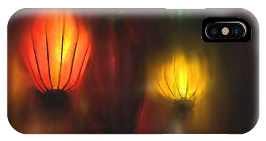 Lanterns IPhone X / XS Case featuring the painting Orange Lantern by Stephen Lucas