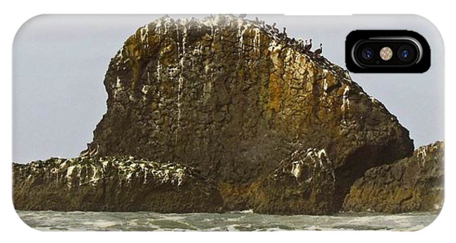 Nw Coastal Scenery IPhone X Case featuring the digital art Pelicans' Rock by I'ina Van Lawick