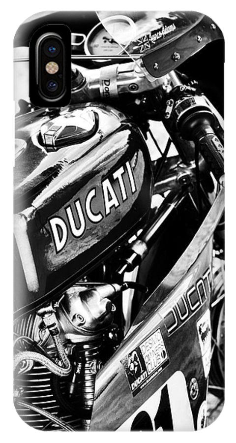 Ducati IPhone X / XS Case featuring the photograph Racing Ducati Monochrome by Tim Gainey