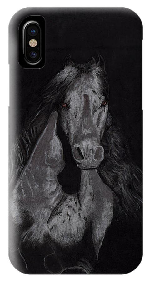 Horse IPhone X Case featuring the drawing Realistic Horse by Chethan Kumar KM