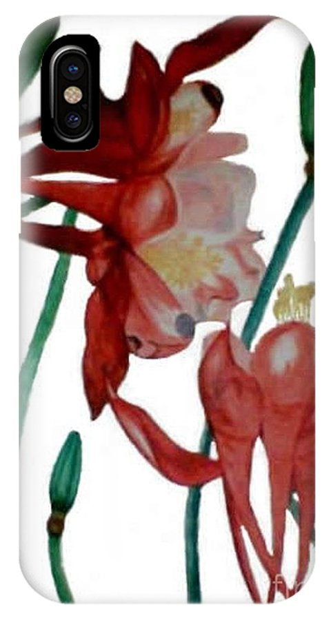 Florals IPhone X Case featuring the drawing Red Crimson Star by Brenda L Spencer