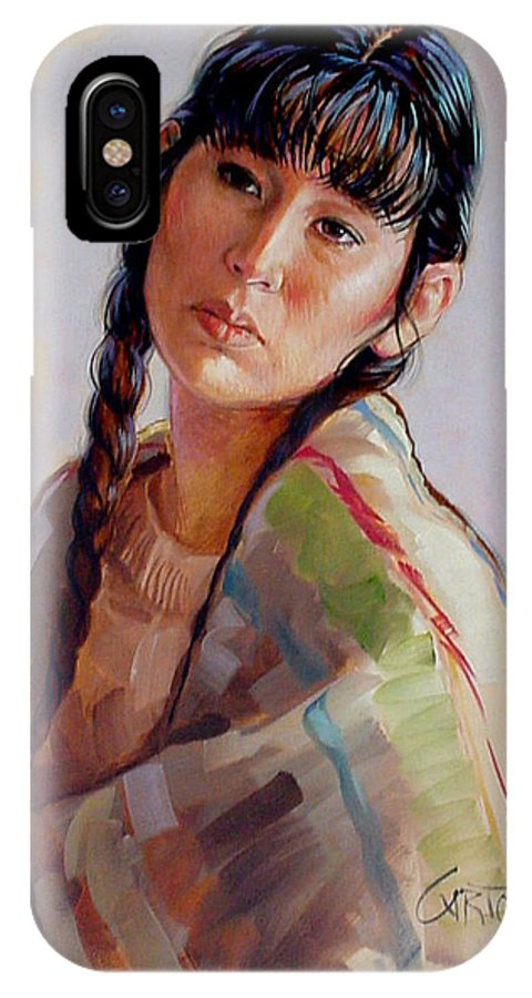 Sacajawea IPhone X Case featuring the painting Sacajawea  Study by Jerrold Carton