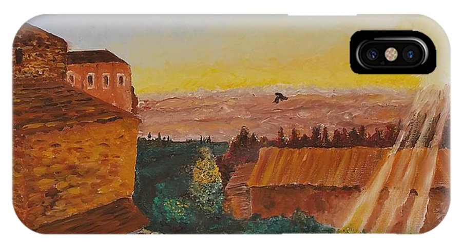 Original IPhone X / XS Case featuring the painting San Gimignano Sunrise by Eli Gross