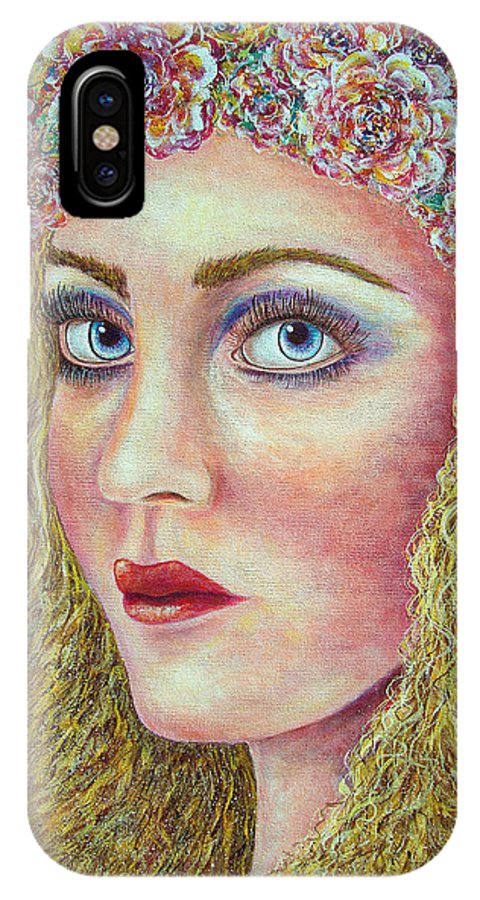 Woman IPhone X Case featuring the painting  The Flower Girl by Natalie Holland