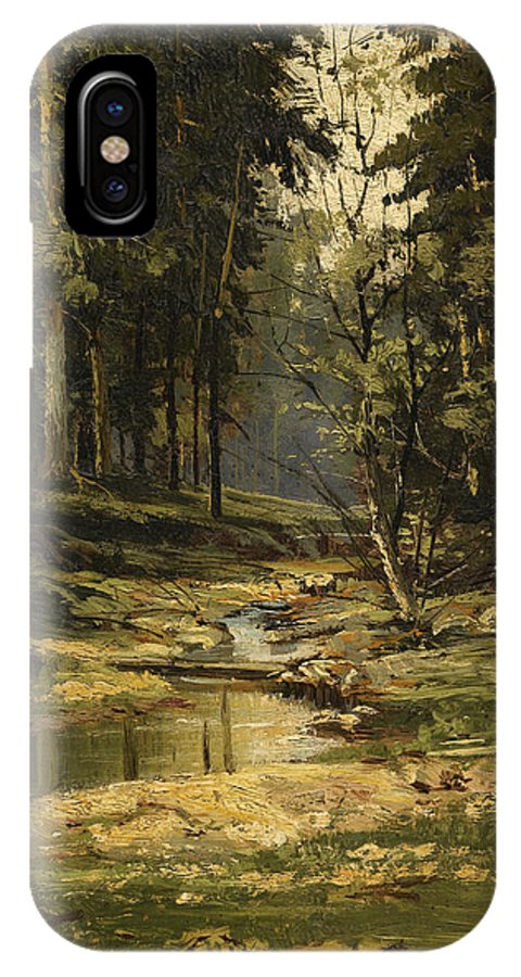 Ivan Shishkin IPhone X / XS Case featuring the painting The Forest Brook by Ivan Shishkin