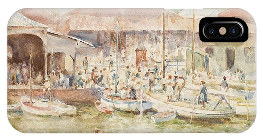 Central America; Port; Fish Market; Boat; Boats; Fishermen; Unloading; Catch; Fresh; Bustle; Busy; Commerce; South American; Central American; Newlyn School IPhone X Case featuring the painting The Market Belize British Honduras by Henry Scott Tuke