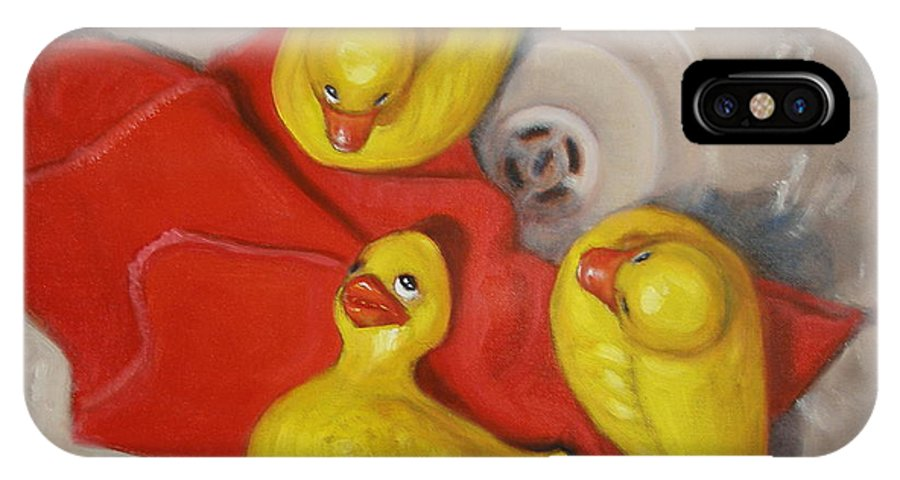 Realism IPhone Case featuring the painting Three Rubber Ducks #1 by Donelli DiMaria