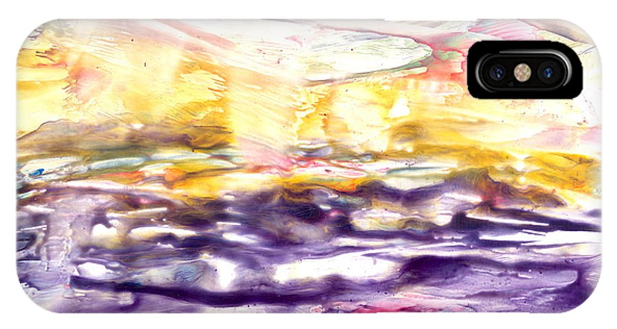 Ocean IPhone X Case featuring the painting Tornado Far Away by Heather Hennick