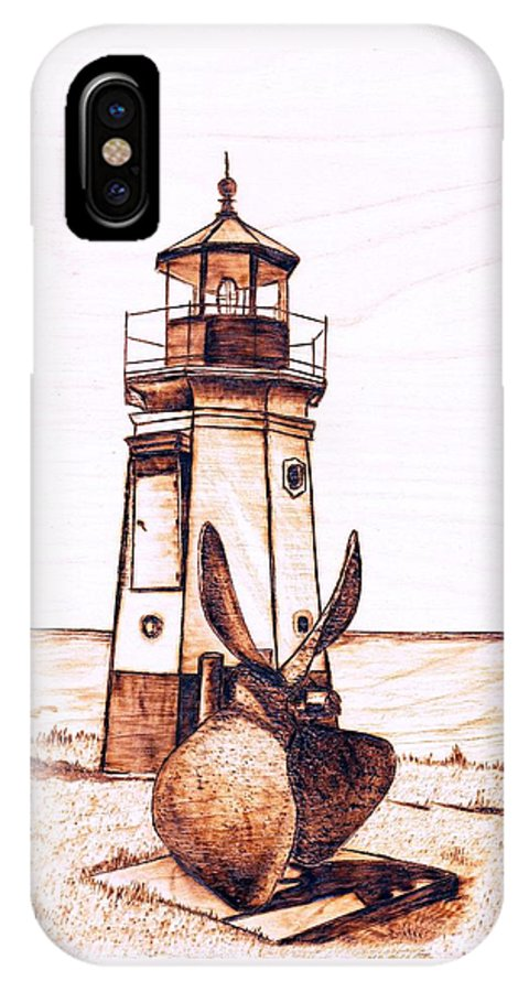 Lighthouse IPhone X Case featuring the pyrography Vermilion Lighthouse by Danette Smith