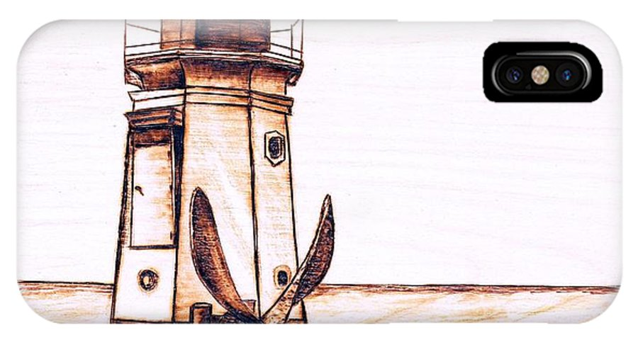 Lighthouse IPhone Case featuring the pyrography Vermilion Lighthouse by Danette Smith
