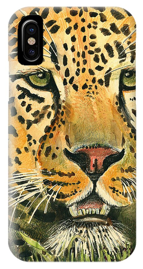 Leopard IPhone X Case featuring the painting Waiting For Prey by Arline Wagner