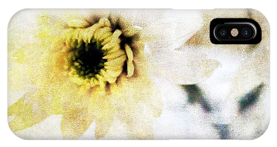 Flower IPhone X Case featuring the mixed media White Flower by Linda Woods