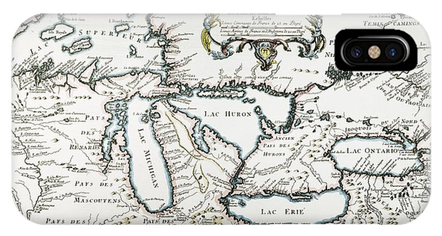 1755 IPhone X Case featuring the painting Great Lakes Map, 1755 by Granger