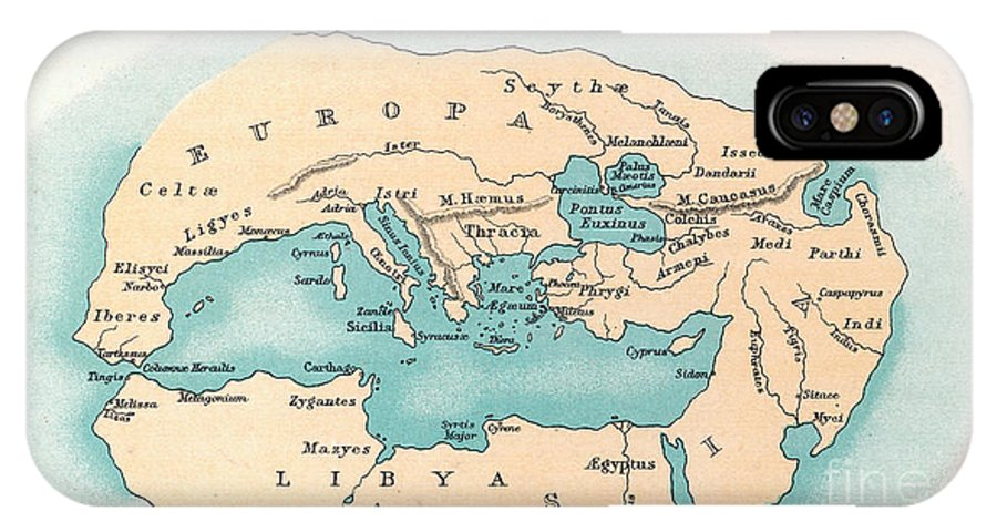 500 B.c. IPhone X Case featuring the painting World Map: 500 B.c by Granger