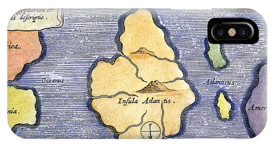 1678 IPhone X Case featuring the painting Map Of Atlantis, 1678 by Granger