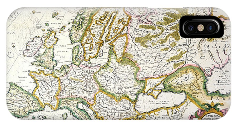 1623 IPhone X Case featuring the painting Map Of Europe, 1623 by Granger