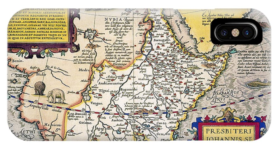 1595 IPhone X Case featuring the painting African Map, 1595 by Granger