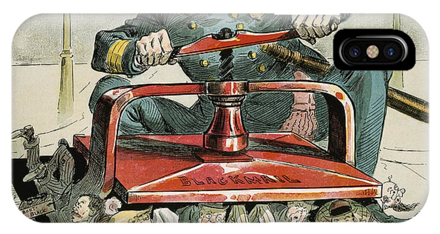 1894 IPhone X Case featuring the painting Police Corruption Cartoon by Granger