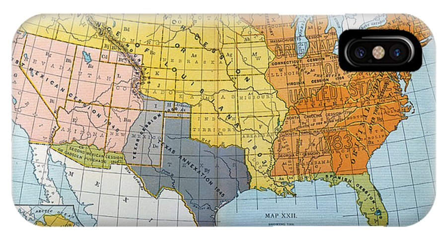 1776 IPhone X Case featuring the painting U.s. Map, 1776/1884 by Granger