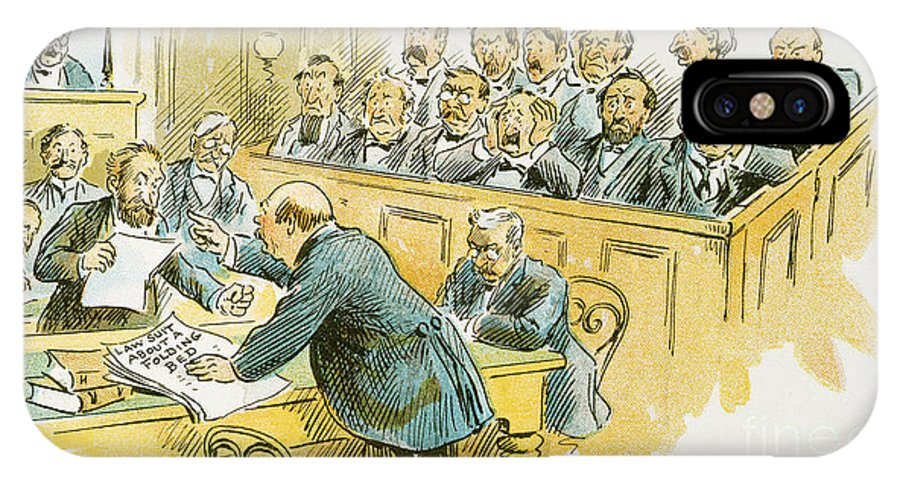 1896 IPhone X Case featuring the painting Litigation Cartoon by Granger