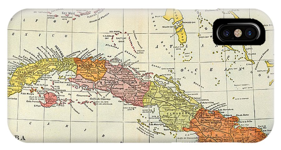 1900 IPhone X Case featuring the painting Map: Cuba, 1900 by Granger