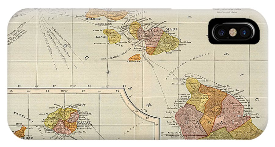 1905 IPhone X Case featuring the painting Map: Hawaii, 1905 by Granger