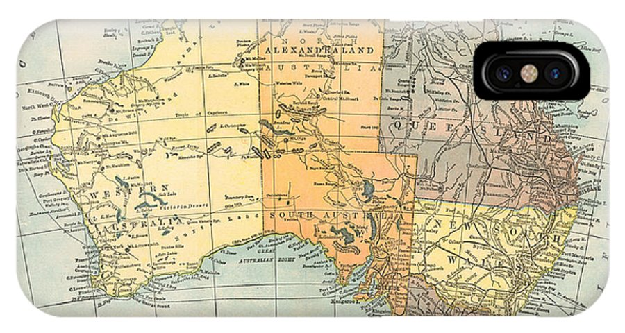 1890 IPhone X Case featuring the painting Map: Australia, C1890 by Granger