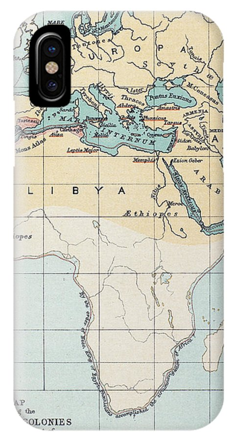 1st Millennium Bc IPhone X Case featuring the painting Map: Phoenician Empire by Granger